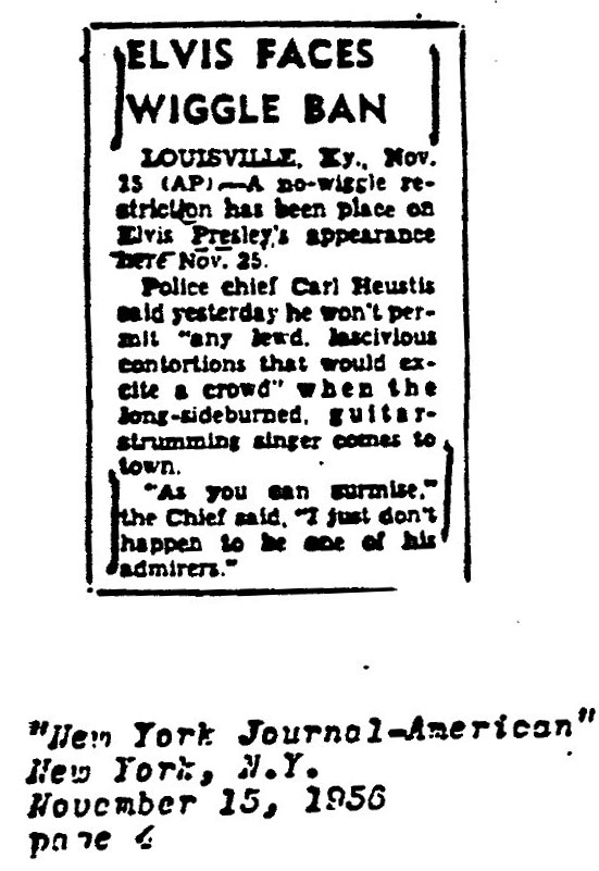 """A clipping from the New York Journal-American in 1956 described the """"Wiggle Ban."""""""