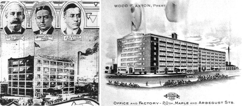 The original Axton-Fisher Tobacco Co. building, right, and the expanded facility in 1933, left, before being purchased by Philip Morris.