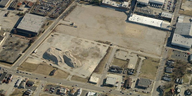 Aerial view of the West End Walmart site looking south. (Courtesy Bing)