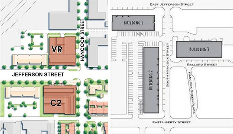 The original site plan, left, and the site plan of 310 at Nulu, right. (Courtesy City Properties Group)
