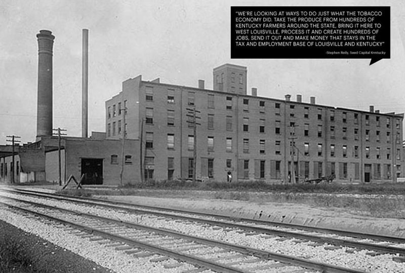 One of the warehouses that once occupied the site. (Courtesy OMA / GBBN / Seed Capital Kentucky)