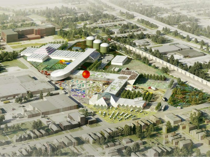 Aerial view of OMA's master plan, looking south. (Courtesy OMA / GBBN / Seed Capital Kentucky)