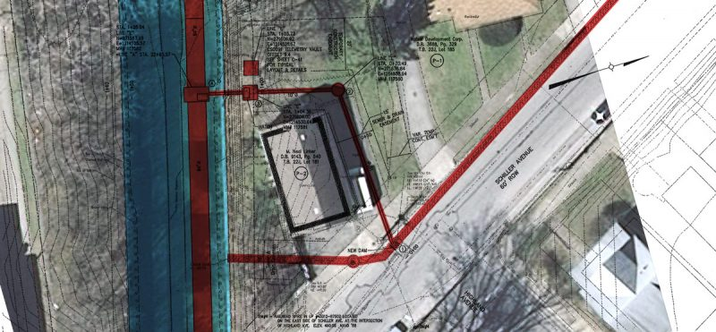 A new pipe will connect to a large sewer running beneath Beargrass Creek. (Courtesy MSD / Color by Broken Sidewalk)