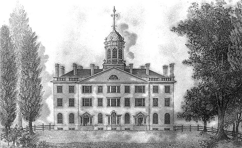Once located in the center of Lexington's Gratz Park, Transylvania University's main building, erected in 1816, was destroyed by fire in 1829. (Courtesy Transylvania University Special Collections, Lexington, KY)