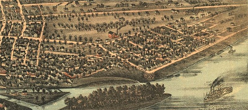 Detail from a map showing the original Portland wharf in 1883. (Courtesy Library of Congress)