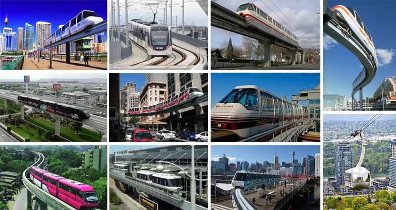 Examples of elevated trams. (Courtesy Steve Wiser)