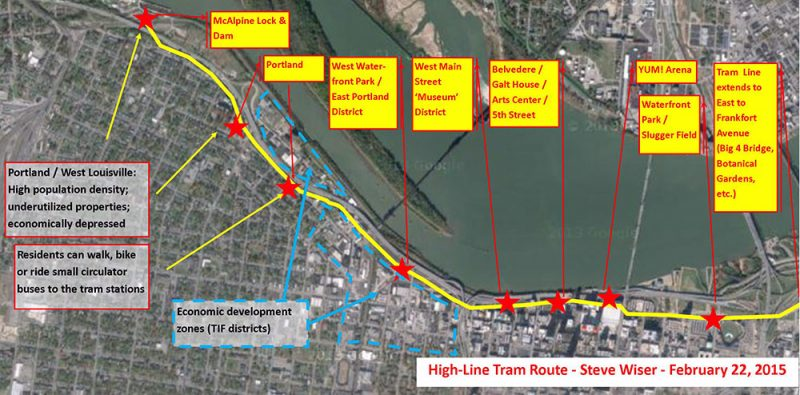"""Proposed route for the """"High-Line Tram."""" (Courtesy Steve Wiser)"""