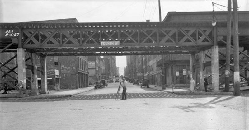 An elevated rail line once followed Louisville's riverfront, seen here at Fourth Street. (Courtesy UL Photo Archives - Reference)