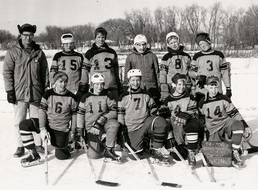 A hockey team in Edina, Minnesota from the 1950s showing how white the community was. (Edina, Minnesota Historical Society / Courtesy Chad Montrie)