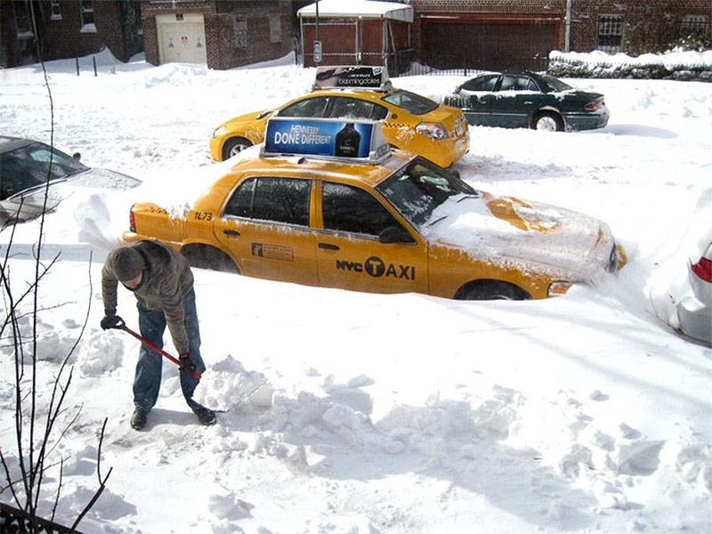 That's me clearing the sidewalk in front of a townhouse where I once lived in Brooklyn.