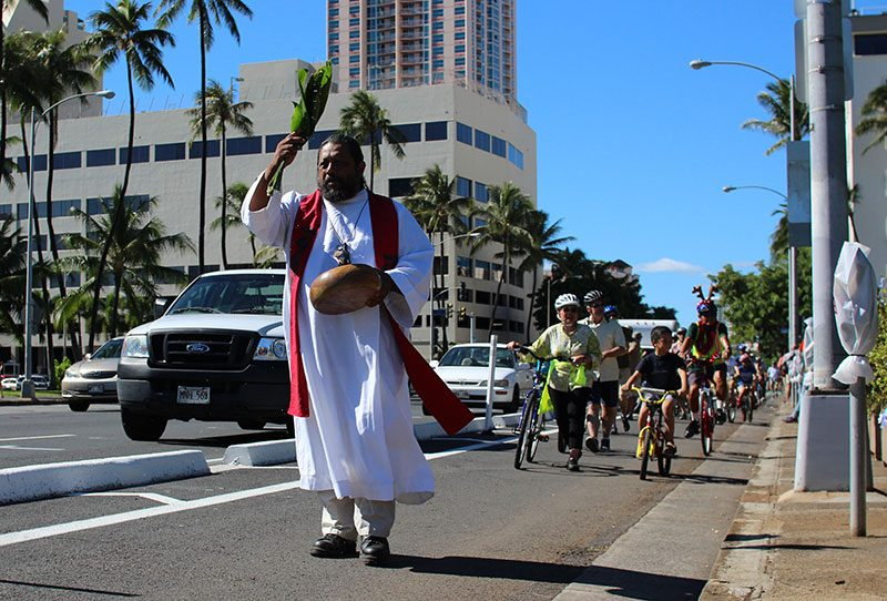 An opening ceremony for King Street's protected bike lane in December. (Courtesy Being 808)