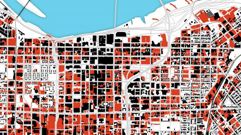 This map shows parking lots around Downtown Louisville in red. (Courtesy City Collaborative)