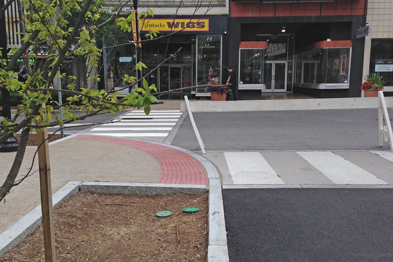 Fourth and Guthrie is now home to the city's first raised intersection. (Elijah McKenzie / Broken Sidewalk)