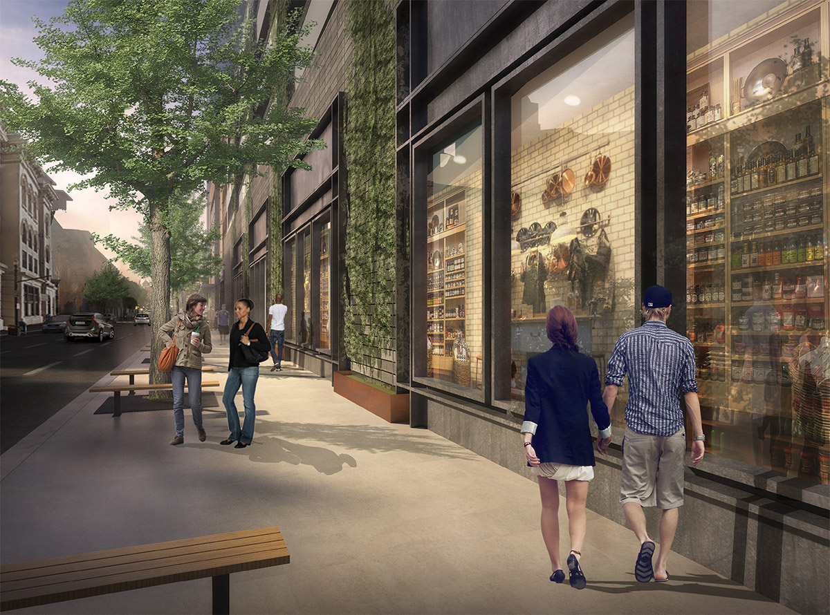 Rendering of the Third Street side of the Omni near where the Water Company Buildings sit. (Courtesy Omni / HKS)
