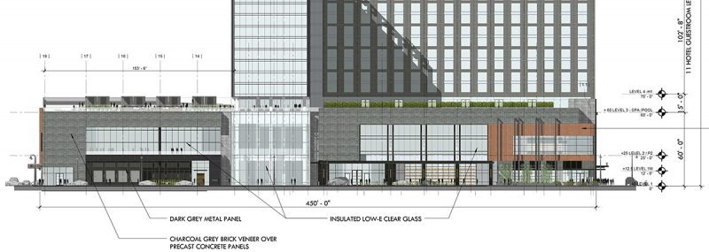 Here's the Second Street facade. (Courtesy HKS)