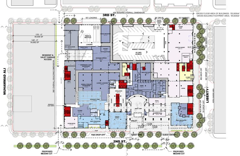 Ground floor plan of the Omni Hotel, showing the grey future development side on the left-hand side. (Courtesy HKS)