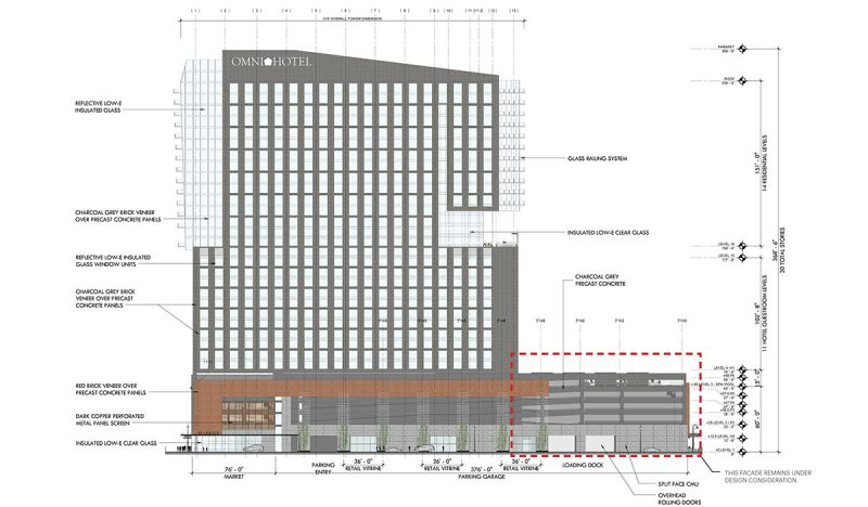 Elevation showing how the Omni will look on Third Street. (Courtesy HKS)