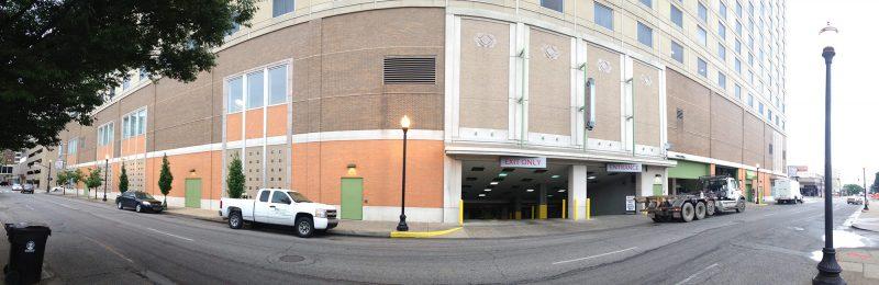 Here's the back side of the Marriott and its dehumanizing pedestrian experience. (Branden Klayko / Broken Sidewalk)