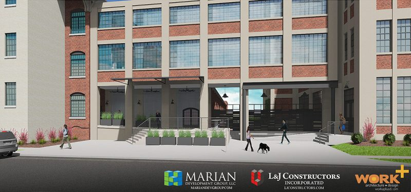 Rendering of the building entrance showing a potential retail spot on the left. (Courtesy Marian Development Group)