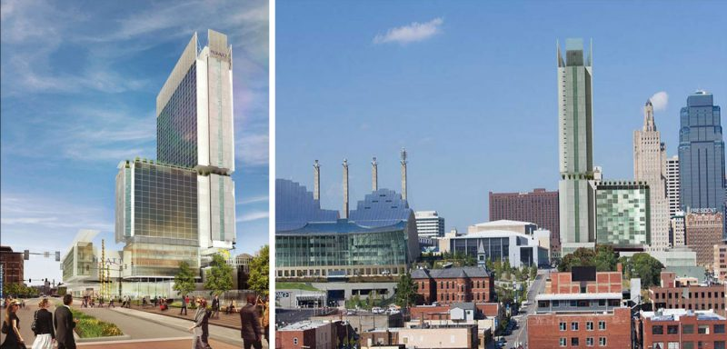 Luxury convention center hotel & residence projects tend to look very similar. This one was unveiled at the same time as the Omni, but in Kansas City. (Courtesy HNTB)