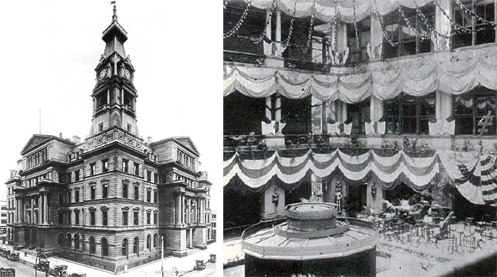 The old customs house and its central atrium, the city's first.