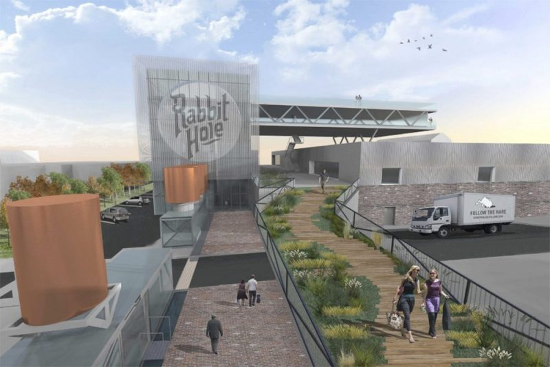 Concept rendering of the Rabbit Hole distillery looking south from East Market Street. (Courtesy Rabbit Hole)