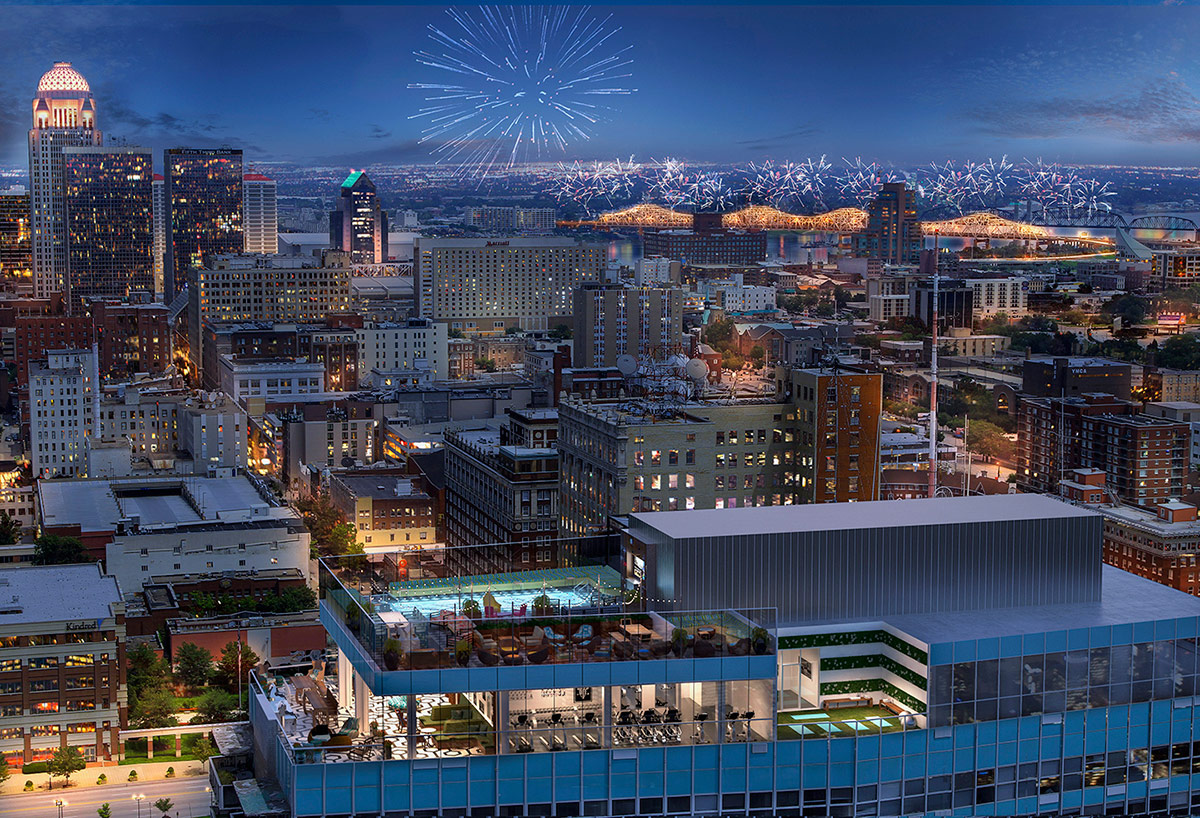 The 800 City Tower Apartments in the foreground looking over Downtown Louisville. (Courtesy Village Green)