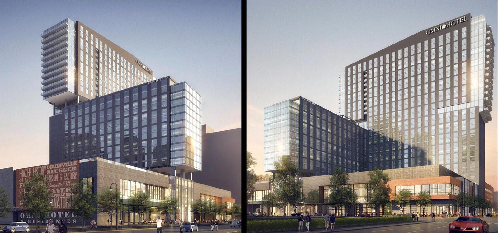 Renderings of the planned Omni Hotel & Residences. (Courtesy Omni / HKS)