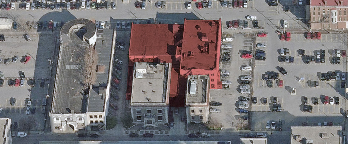 The buildings in red dating to 1916 were already torn down. (Courtesy Bing / Montage by Broken Sidewalk)