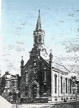 An engraving of the church in 1868 showing a building next door that pre-dates the Cloisters. (Courtesy Sr. Amelia Dues/Motherhouse of Ursuline Order Community; Via IUPUI)