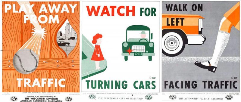 A street-safety campaign from AAA in the 1950s urged children to look out for motorists, not the other way around. (Via Collectors Weekly)