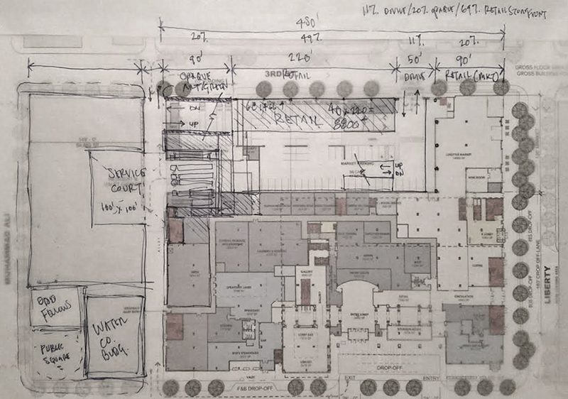 A sketch diagram by Scott Kremer showing that relocating the loading dock is feasible. (Courtesy Scott Kremer)
