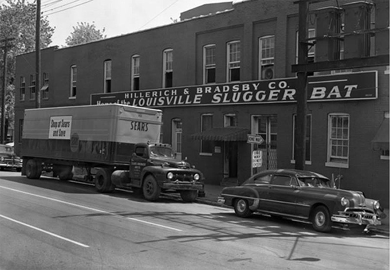 "430 Finzer Avenue in 1955 with a sign reading, ""Hillerich and Bradsby Co., Home of the Louisville Slugger Bat."" (Courtesy UL Archives - Reference)"