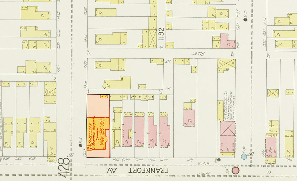 The first Lees Memorial Church, shown on this 1905 map, was located on the same site was wooden with a corner steeple. (Courtesy KYVL)