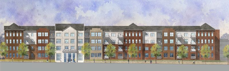 Elevation of the Mercy Apartments. (Courtesy Edwards Companies)