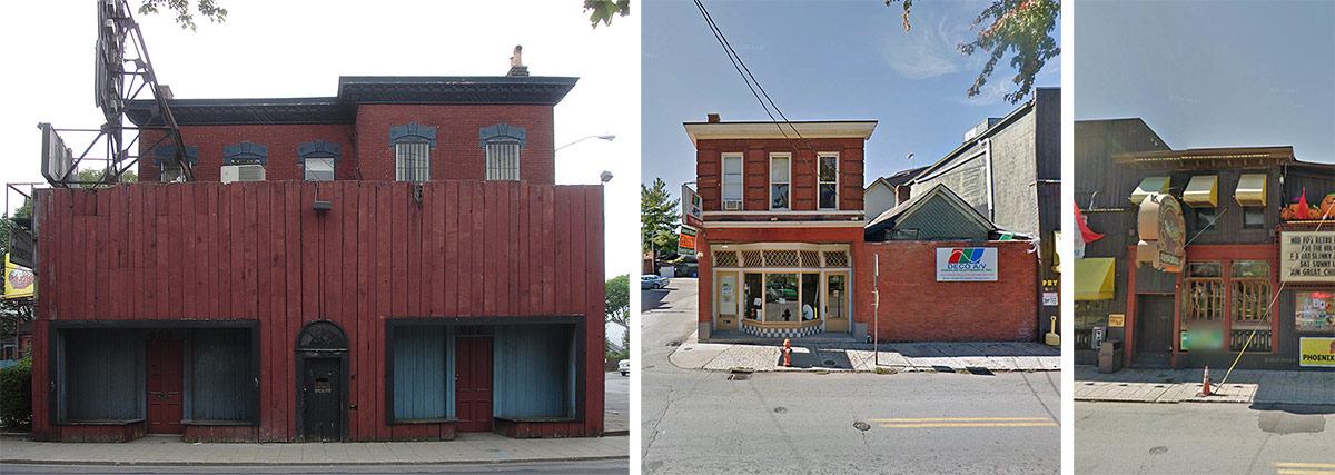 Three historic commercial buildings along Baxter Avenue. (Broken Sidewalk / Courtesy Google)