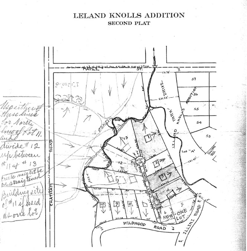 Plat map provided to Louise by her father Jerome. Map includes hand-written notes about potential building sites. (Courtesy Filson Historical Society)