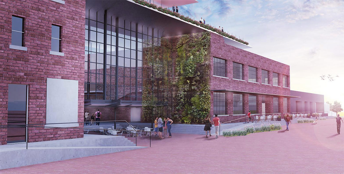 Rendering of the future entrance to Louisville Stoneware in Paristown Pointe. (Courtesy wHY)