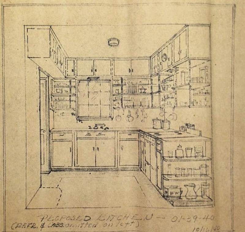 "Proposed kitchen design for Louise and Anne Bruce's Glenview residence, ""Puye"", 1940. (Courtesy Filson Historical Society)"