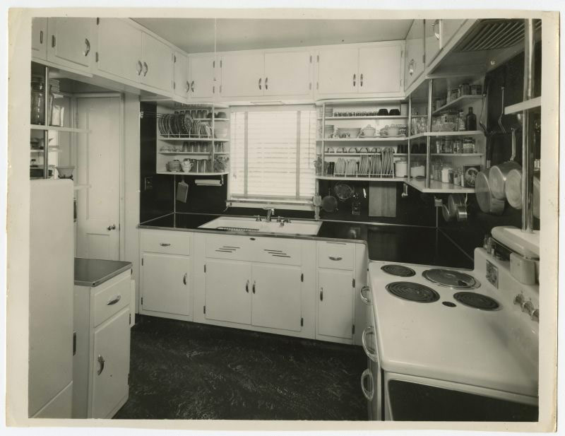 "Finished interior of ""Puye"" kitchen, no date. (Courtesy Filson Historical Society)"