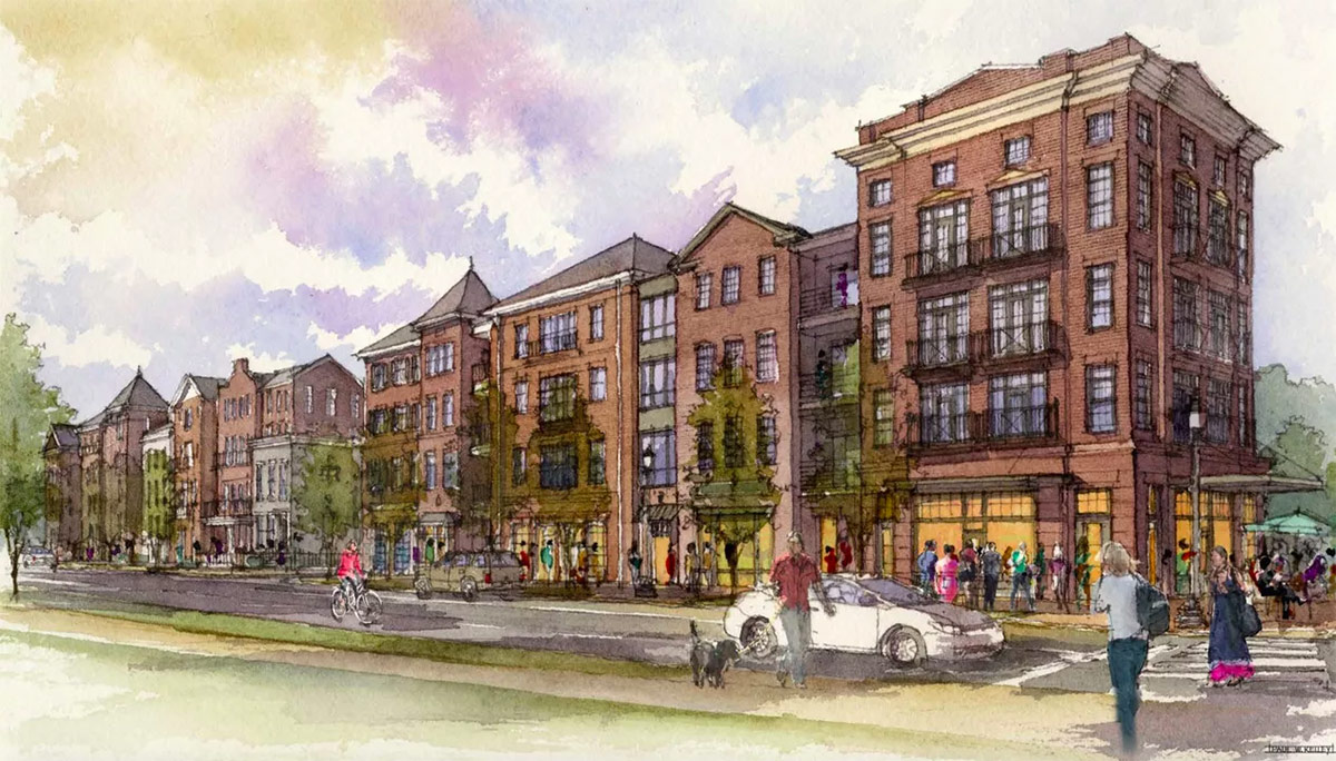 The Baxter Avenue side of the project. (Courtesy Edwards Companies)