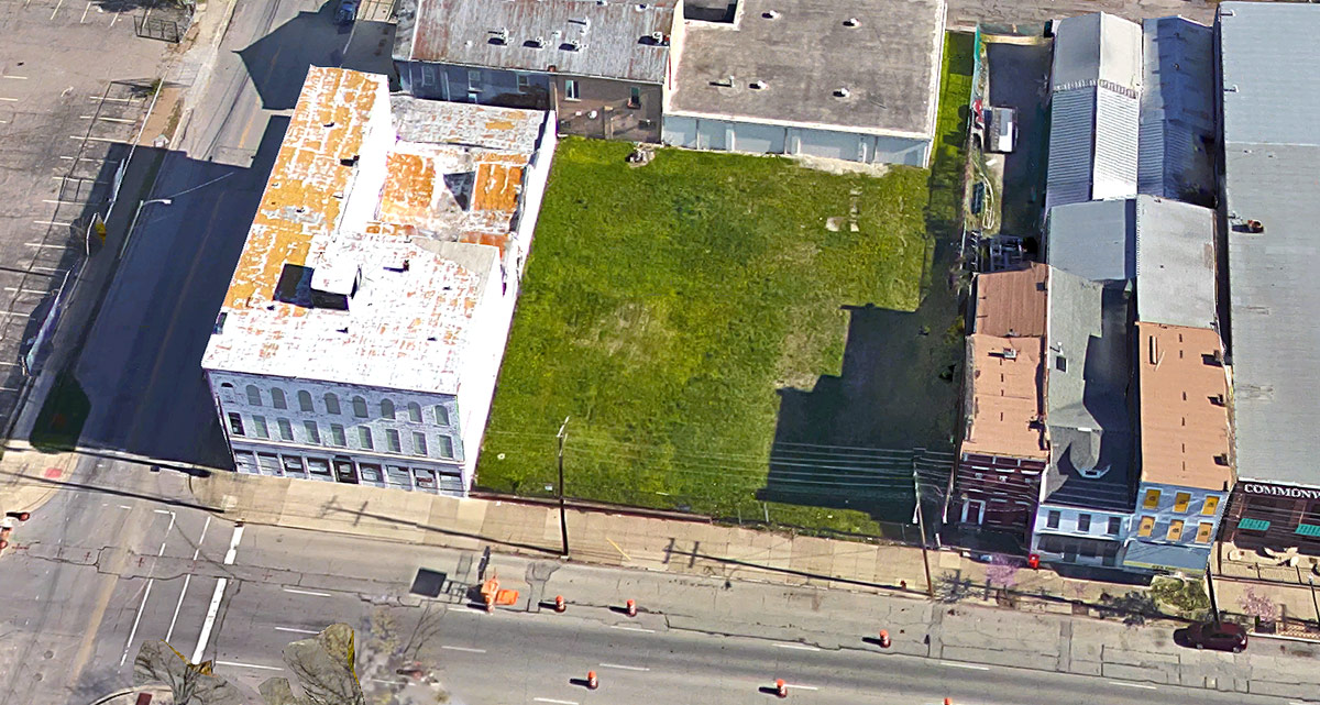 The Louisville Chemical Building property also includes the large grassy lot to the east. (Courtesy Google)