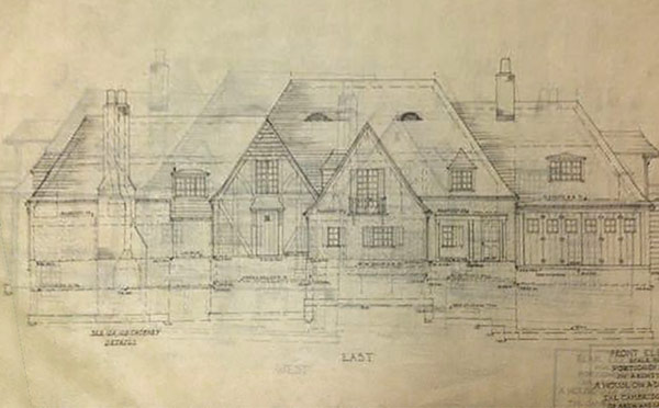 "Front elevation of Louise's Cambridge 1933 thesis project ""A House on a Downhill Lot."" (Courtesy Filson historical Society)"