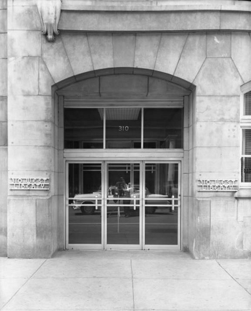 Entrance to the new warehouse building following an update that brought a new door and Art Deco address bar. (Courtesy UL Archives - Reference)
