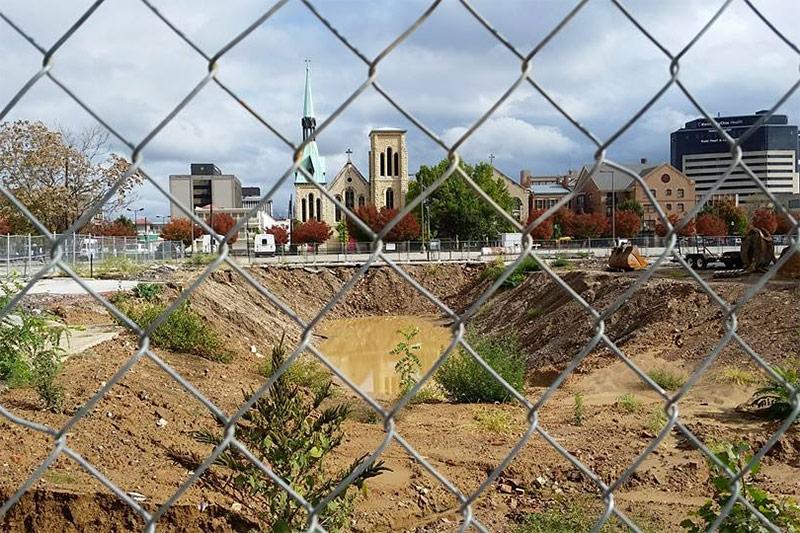 The former site of the Morrissey Parking Garage. (Dennis Alkmst)