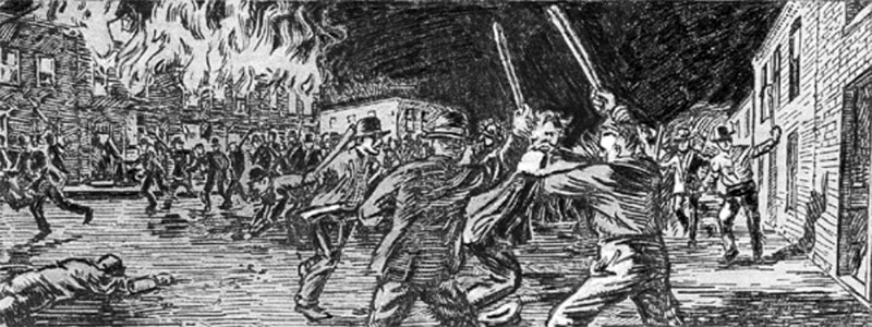 Etching of the Bloody Monday riots in Louisville from the Louisville Times.
