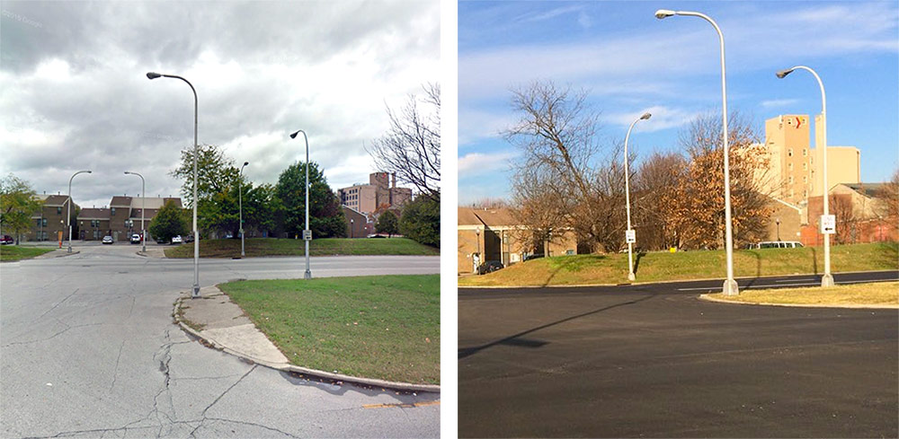 Before and after on the Ninth Street medians. (Courtesy Google; Tipster)