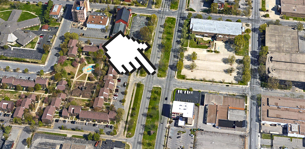 Location of the removed sidewalk. (Courtesy Google)