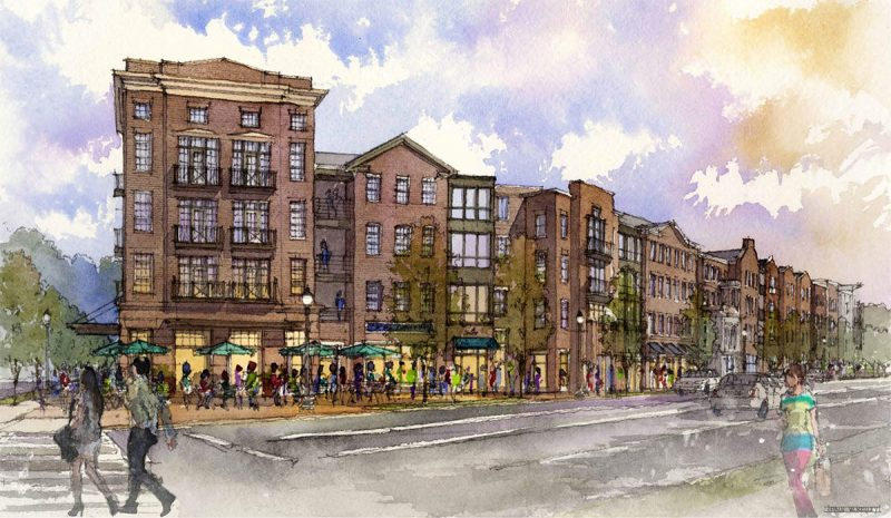 Rendering of the Baxter Avenue side of the Phoenix Hill Apartments. (Courtesy Edwards Companies)