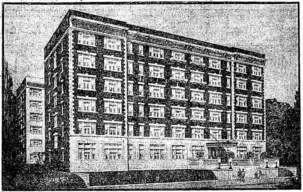 A rendering of the Puritan Apartments showing the original phase that opened in 1914.